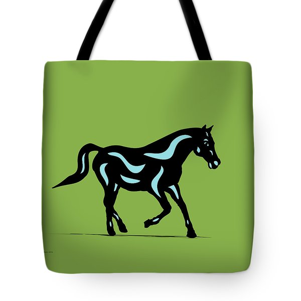 Heinrich - Pop Art Horse - Black, Island Paradise Blue, Greenery Tote Bag