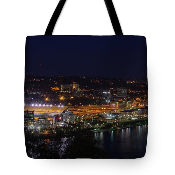 Heinz Field At Night From Mt Washington Tote Bag