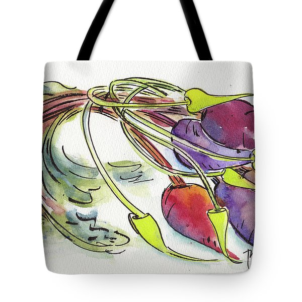 Tote Bag featuring the painting Heirloom Beets And Garlic Scapes by Pat Katz
