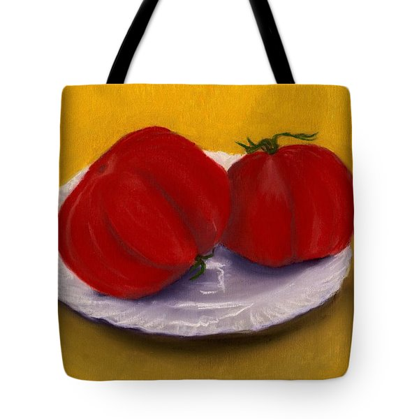 Tote Bag featuring the drawing Heirloom Tomatoes by Anastasiya Malakhova