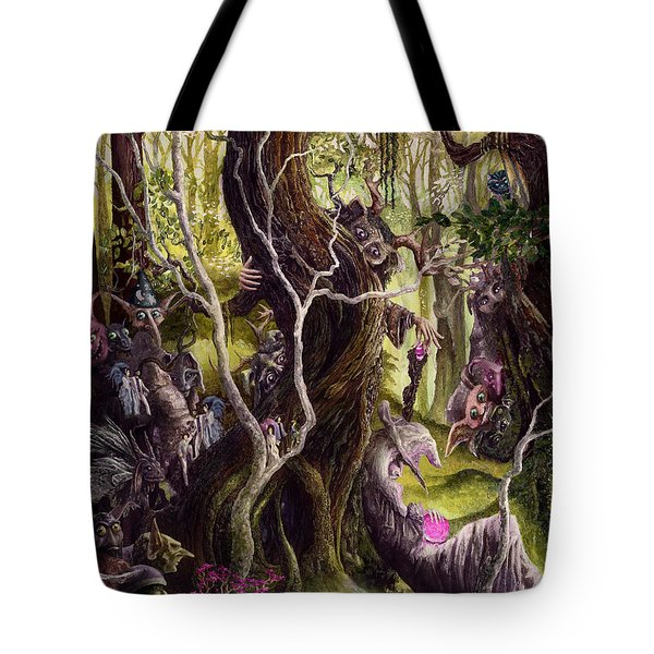 Tote Bag featuring the painting Heist Of The Wizard's Staff by Curtiss Shaffer