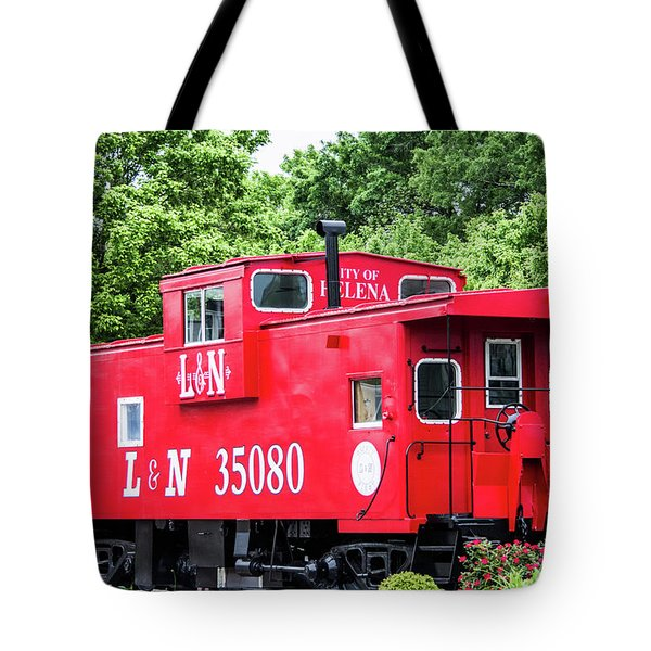 Tote Bag featuring the photograph Helena Red Caboose by Parker Cunningham