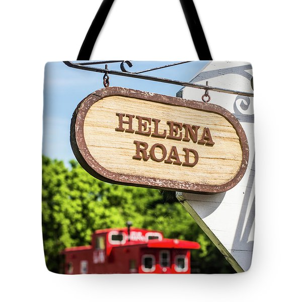 Tote Bag featuring the photograph Helena Road Sign by Parker Cunningham