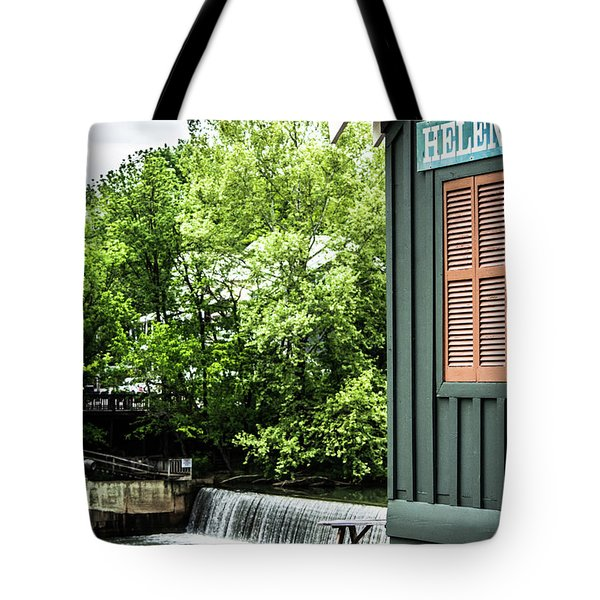 Tote Bag featuring the photograph Helena Sign By Buck Creek by Parker Cunningham