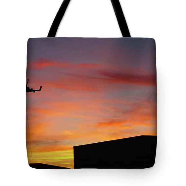 Helicopter And The Sunset Tote Bag