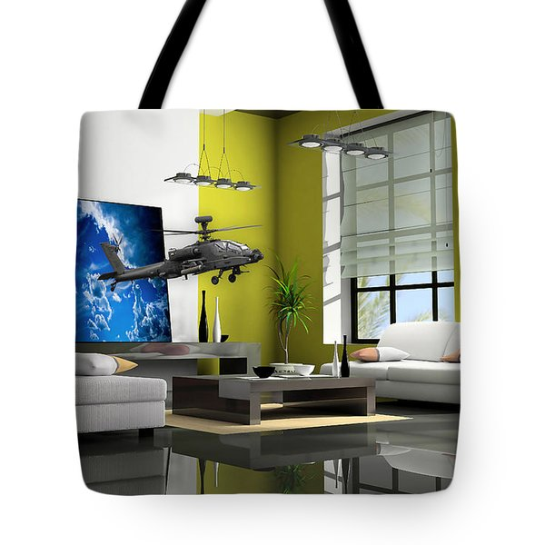 Helicopter Art Tote Bag by Marvin Blaine