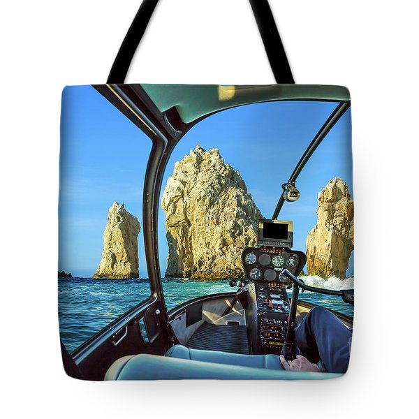 Tote Bag featuring the photograph Helicopter On Cabo San Lucas by Benny Marty