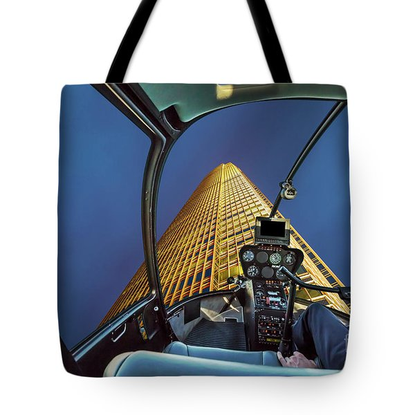 Helicopter On Skyscaper Facade Tote Bag