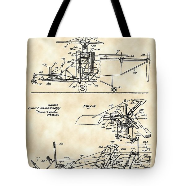 Helicopter Patent 1940 - Vintage Tote Bag