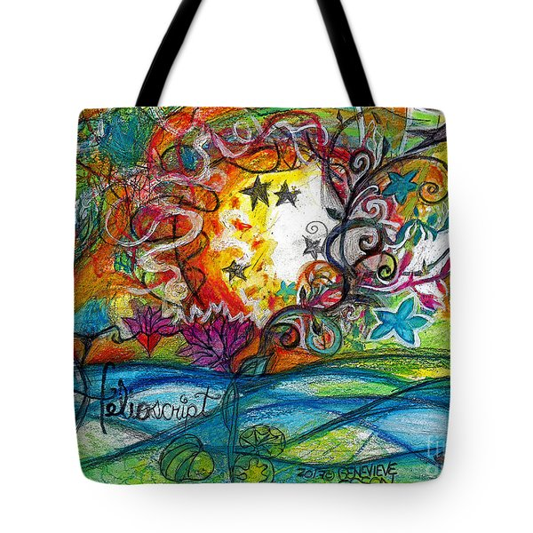 Tote Bag featuring the painting Helios And Ophelia Posterized by Genevieve Esson
