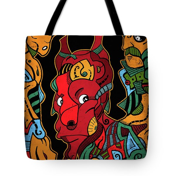 Tote Bag featuring the digital art Hell by Sotuland Art