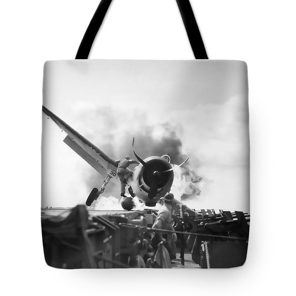 Hellcat Aircraft Slams Into U S S Enterprise Carrier  1943 Tote Bag