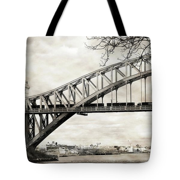 Hellgate Bridge In Sepia Tote Bag
