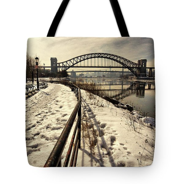 Hellgate Bridge In Winter Tote Bag
