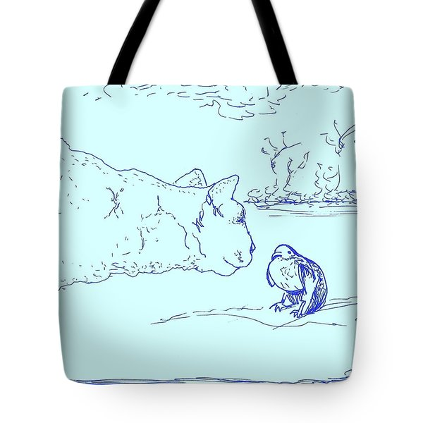 Tote Bag featuring the drawing Hello Birdie by Denise Fulmer