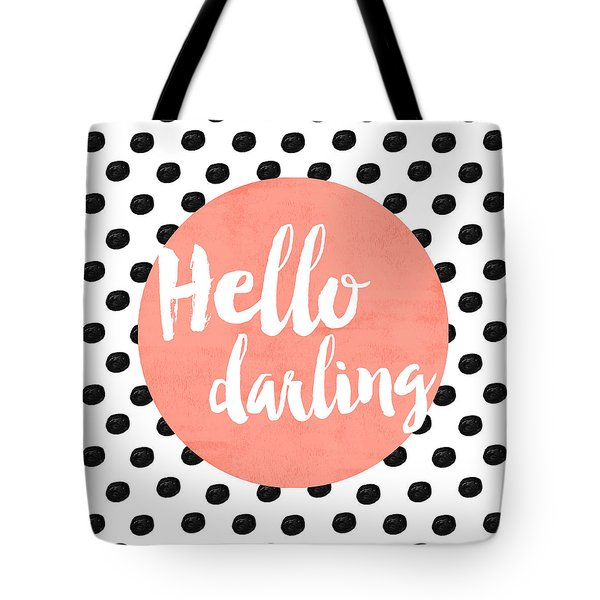 Hello Darling Coral And Dots Tote Bag by Allyson Johnson