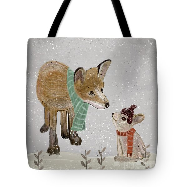 Tote Bag featuring the painting Hello Mr Fox by Bri B