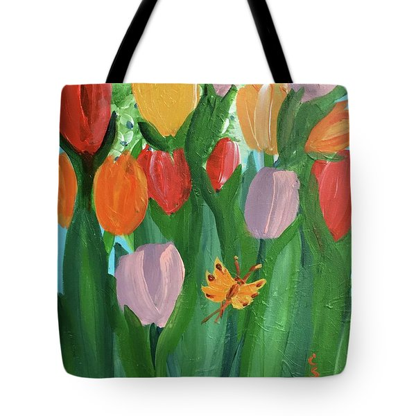 Hello Spring Tulips Tote Bag