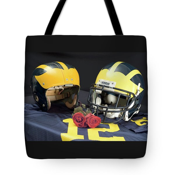 Helmets Of Different Eras With Jersey And Roses Tote Bag