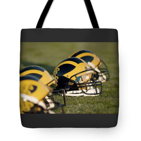 Helmets On The Field Tote Bag
