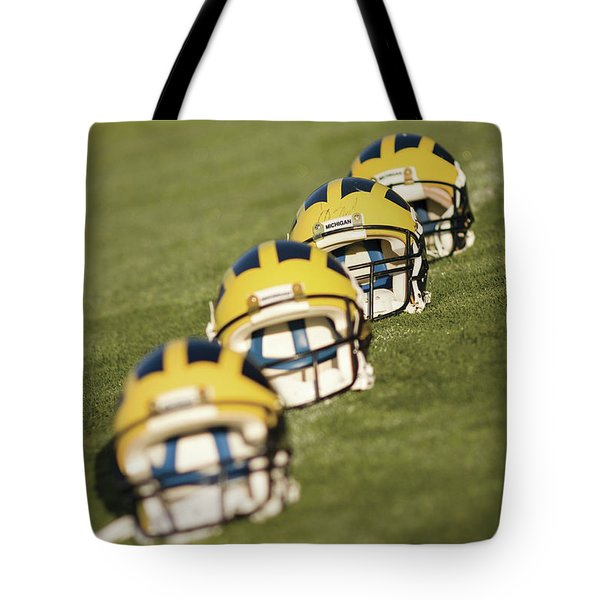Helmets On Yard Line Tote Bag