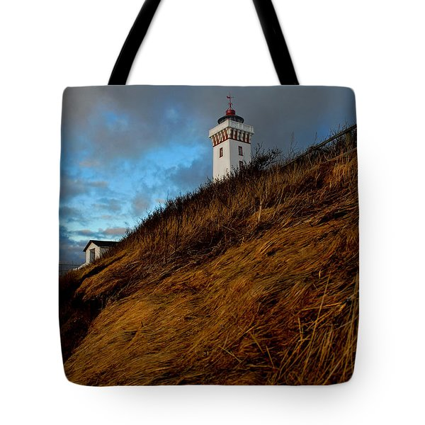 Helnaes Lighthouse Tote Bag by Robert Lacy