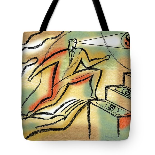 Tote Bag featuring the painting Helping Hand And Money by Leon Zernitsky
