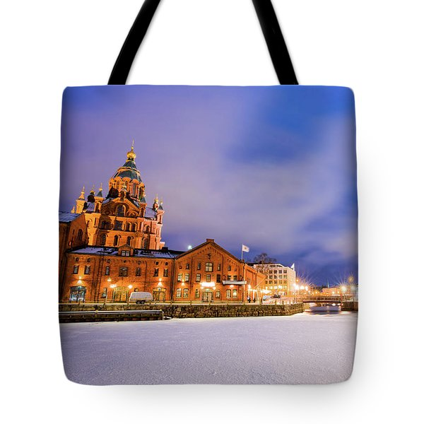 Tote Bag featuring the photograph Helsinki By Night by Delphimages Photo Creations