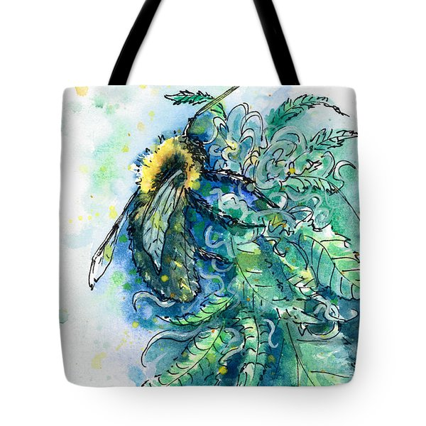 Tote Bag featuring the painting Hemp Flower Honey Bee by Ashley Kujan