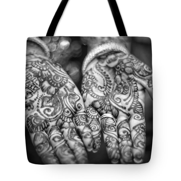 Henna Hands Black And White Tote Bag