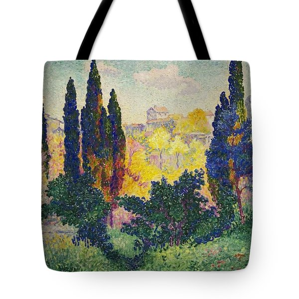 Tote Bag featuring the painting Henri Edmond Cross French Les Cypres A Cagnes by Artistic Panda