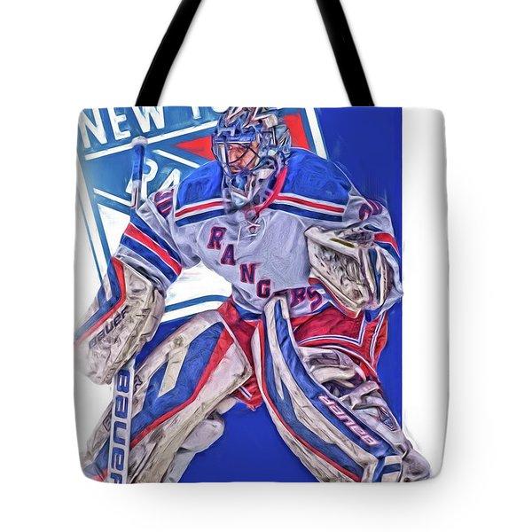 Henrik Lundqvist New York Rangers Oil Art Tote Bag