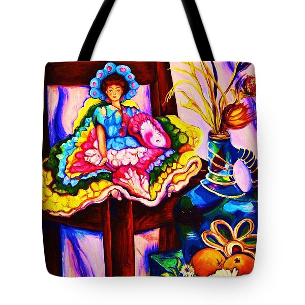 Her Little Parasol Tote Bag by Carole Spandau