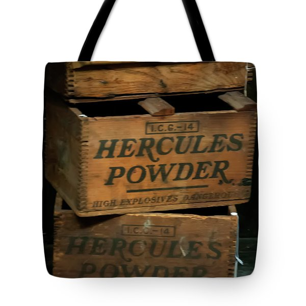 Tote Bag featuring the photograph Hercules Dynamite Crates by Chris Flees