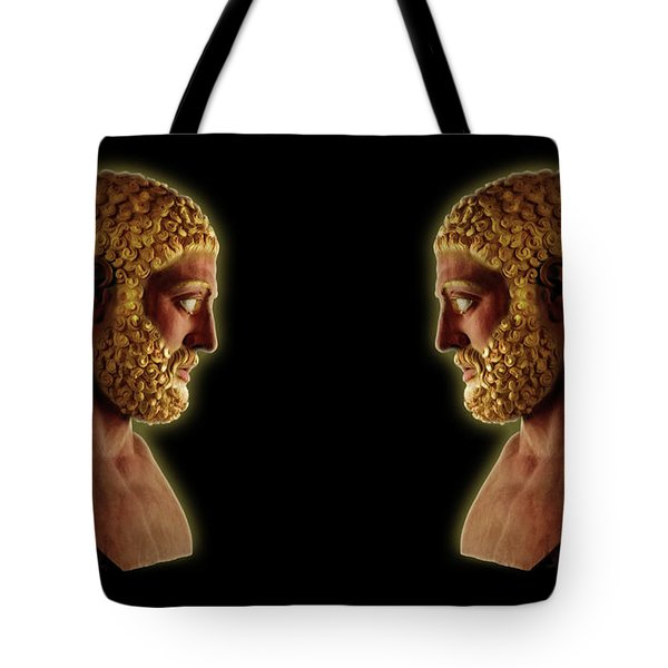 Tote Bag featuring the mixed media Hercules - Golden Gods by Shawn Dall