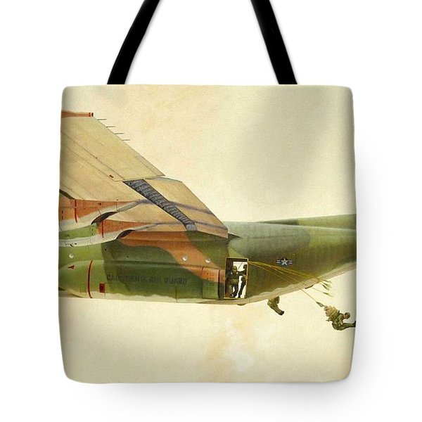 Tote Bag featuring the painting Hercules Paratroop Drop by Paul Clinkunbroomer