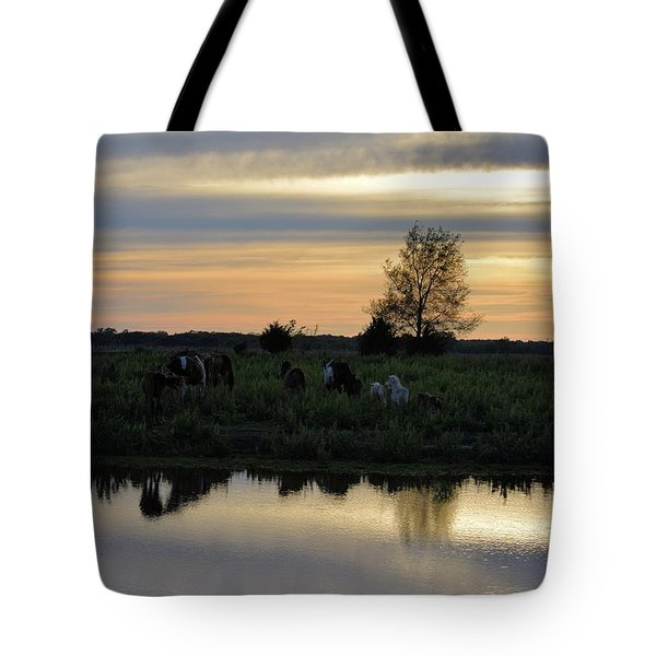 Herd By The Pond At Sunset Tote Bag
