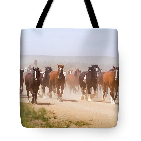 Tote Bag featuring the digital art Herd Of Horses During The Great American Horse Drive On A Dusty Road by Nadja Rider