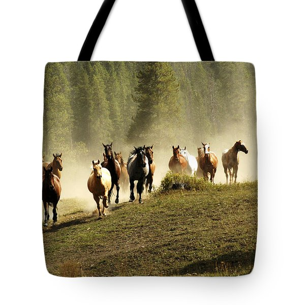 Herd Of Wild Horses Tote Bag