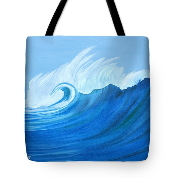 Tote Bag featuring the painting Here Comes A Big One by Anne Beverley-Stamps