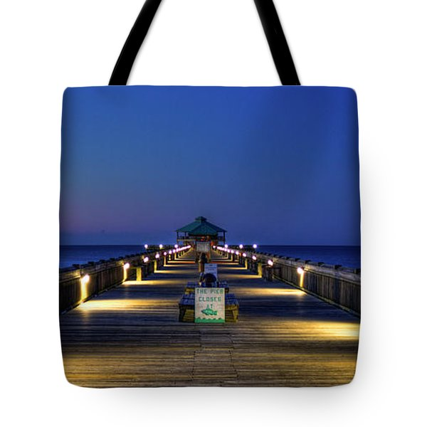 Tote Bag featuring the photograph Here It Comes Now Folly Beach Pier Sunrise Art by Reid Callaway