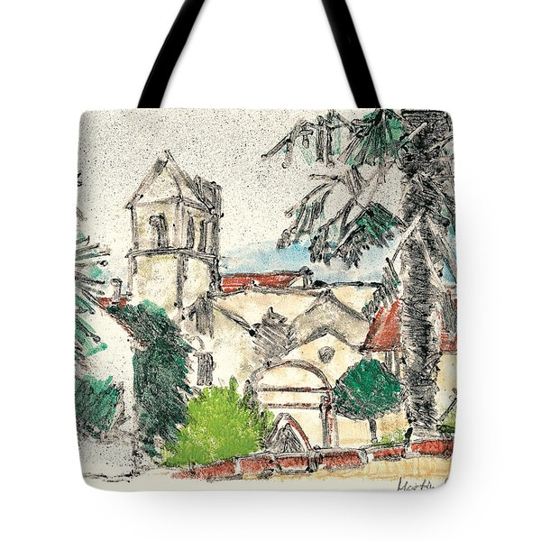 Tote Bag featuring the painting Herepian Village In Provence by Martin Stankewitz