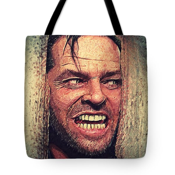 Here's Johnny - The Shining  Tote Bag by Taylan Apukovska