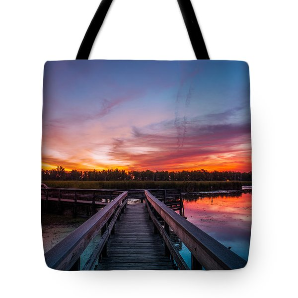 Heritage Boardwalk Twilight Tote Bag by Chris Bordeleau
