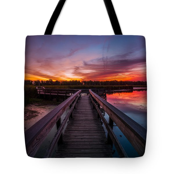 Heritage Boardwalk Twilight - Square Tote Bag by Chris Bordeleau