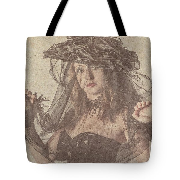 Heritage Fashion Girl Posing In Vintage Hat Tote Bag