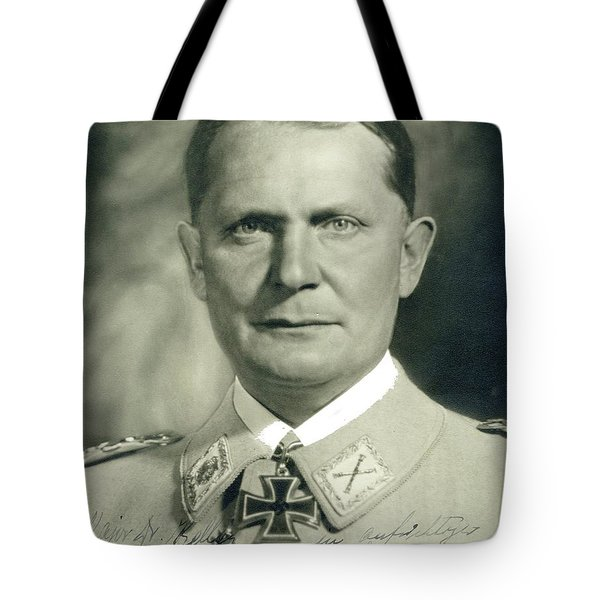 Herman Goering Autographed Photo 1945 Color Added 2016 Tote Bag