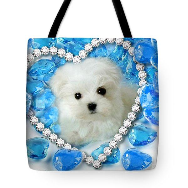 Hermes The Maltese And Blue Hearts Tote Bag
