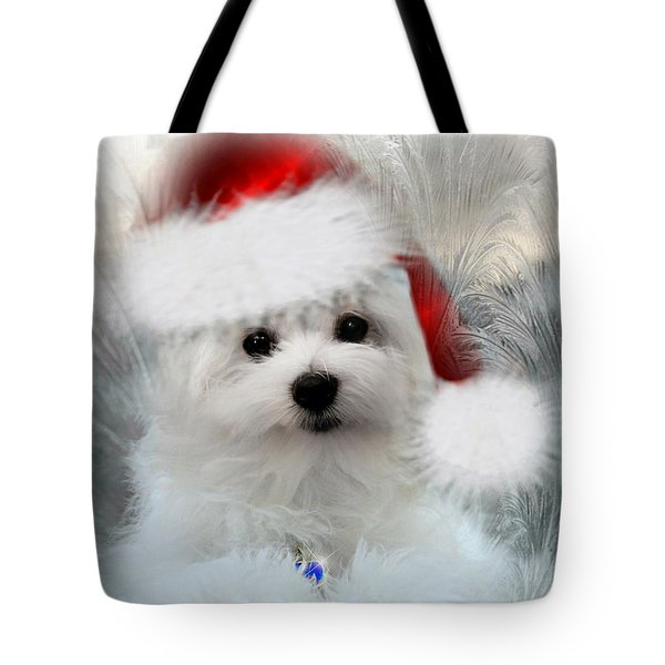 Hermes The Maltese At Christmas Tote Bag by Morag Bates
