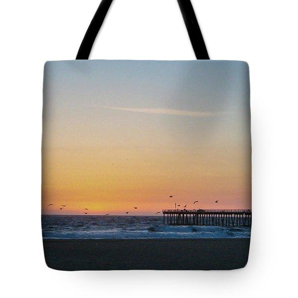 Hermosa Beach Pier At Sunset With Seagulls Tote Bag by Mark Barclay
